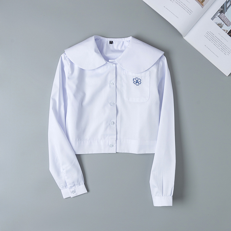 Japanese Student School Uniforms Long Sleeve Cute White Shirt For Girls Pocket Embroidery School Dress Jk Sailor Suit Top Women