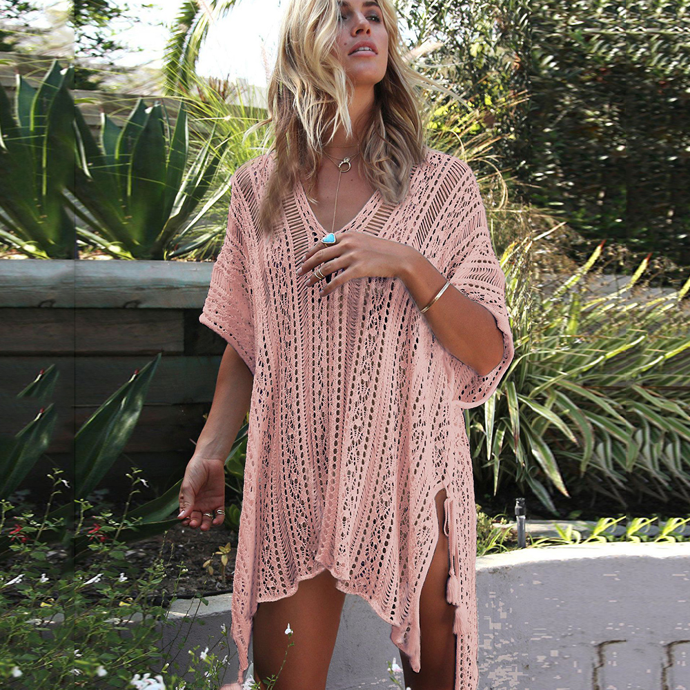 New Knitted Beach Cover Up Women Bikini Swimsuit Cover Up Hollow Out Beach Dress Tassel Tunics Bathing Suits Cover-Ups Beachwear 23