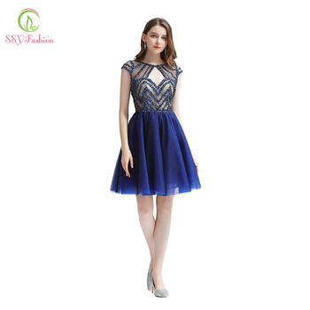 SSYFashion New Luxury Cocktail Dresses Navy Blue Sequins Beading Short Party Formal Gowns Vestido De Noche Homecoming Dresses