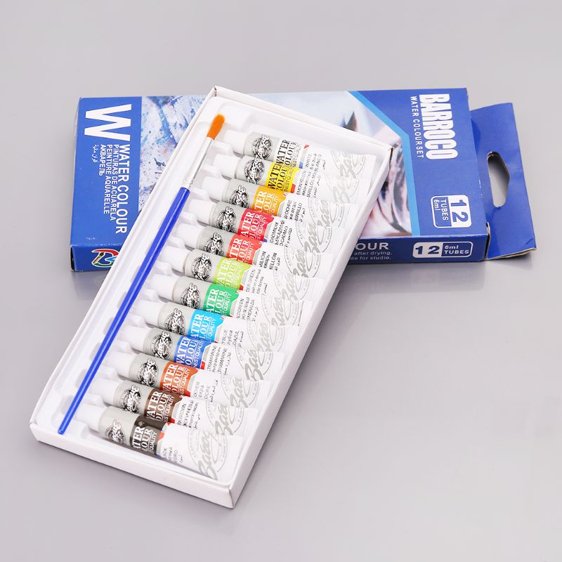 12 Colors Tubes 6ml Paint Tube Drawing Painting Watercolor Pigment Set With Brush Art Supplies M17F