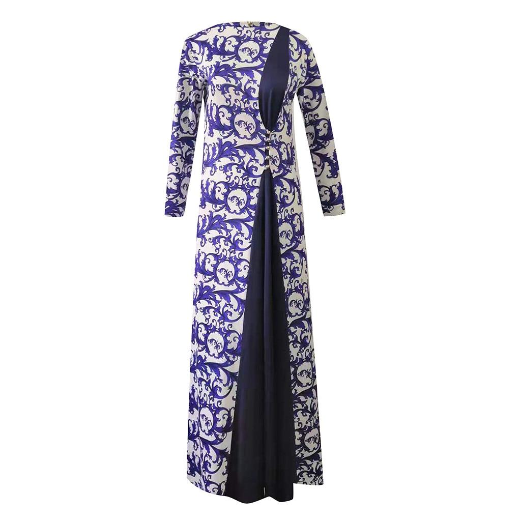 Print Maxi Dress Knitted Muslim Abaya Muslim Women's Abaya