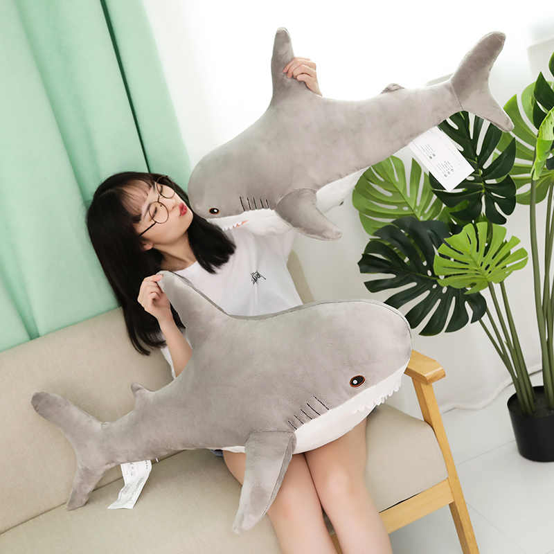 1pc 80/100CM Big Size Shark pluszowe zabawki miękkie nadziewane speelgoed zwierząt poduszka do czytania na urodziny prezenty poduszka na prezent dla dzieci