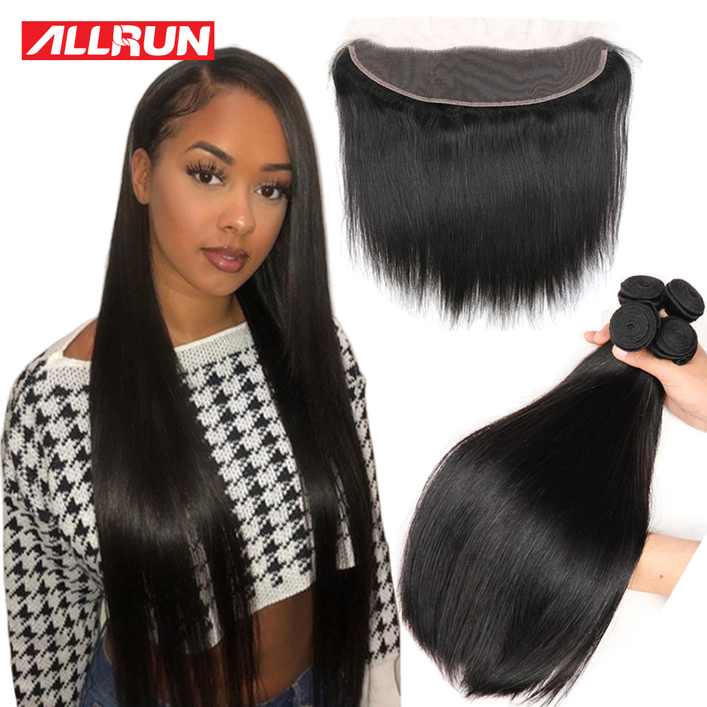 Allrun Straight Hair Bundles With Frontal Closure Human Hair Bundles With Closure 13x6 Malaysia Non Remy Hair 26 28 Inch