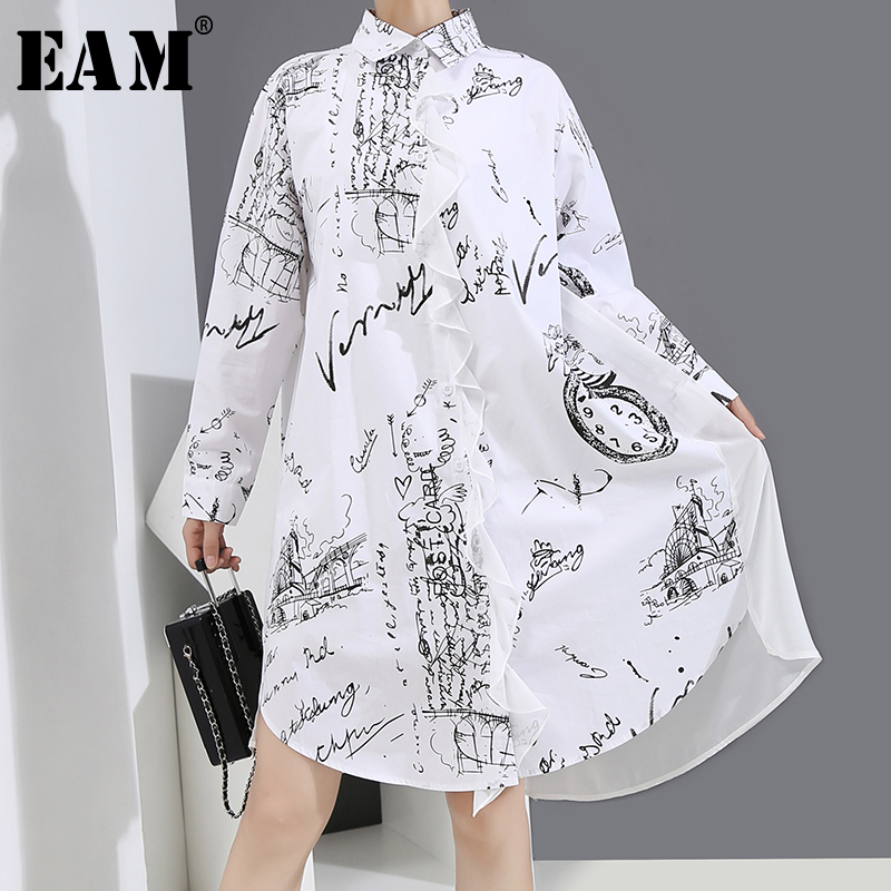 [EAM] Women White Pattern Printed Big Size Shirt Dress New Lapel Long Sleeve Loose Fit Fashion Tide Spring Autumn 2020 1Y735