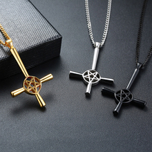 Cool Satan Cross Pendant Necklaces for Men Black Gold Silver Tone Solid Stainles