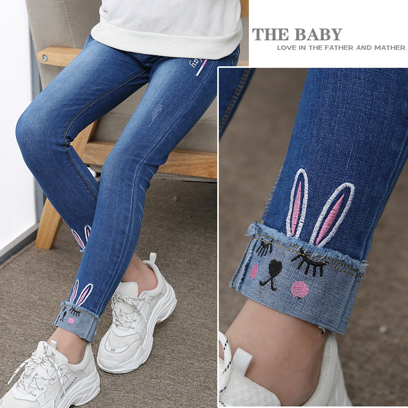 ZSIIBO Girls Jeans Spring And Autumn Girls Feet Pants Children's Pants Spring Pants In The Big Children's Pants