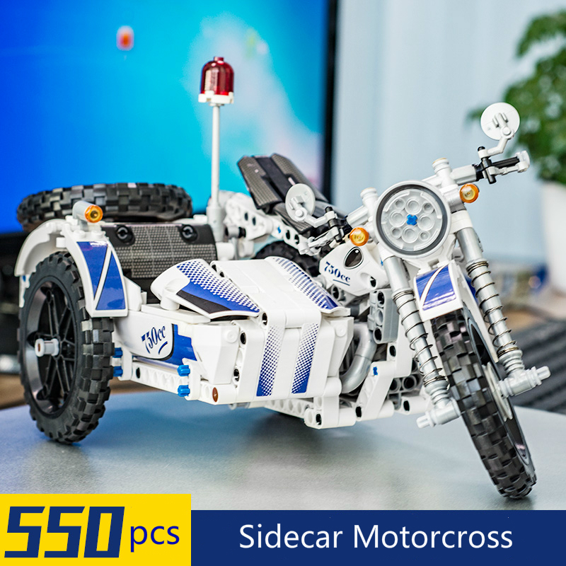 Image 2 - 550Pcs Technic Motorcycle Police Building Bricks Blocks Sidecar Motorcross Model Gift Compatible Technic Car Toys-in Blocks from Toys & Hobbies