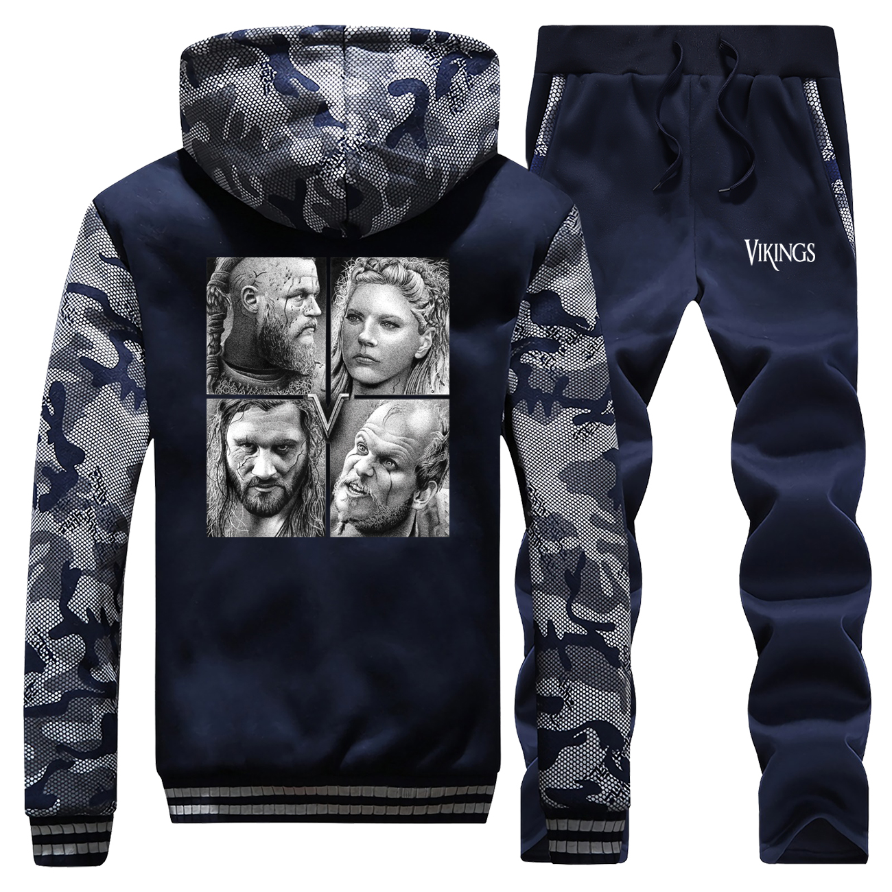 Winter Hot Sale Mens Hoodie TV Show Vikings Camouflage Sportswear Vintage Print Coat Thick Suit Warm Jackets+Pants 2 Piece Set