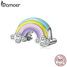 Bamoer gerçek 925 ayar gümüş emaye gökkuşağı boncuk Charm orijinal marka gümüş bilezik ve bileklik moda takı SCC1425