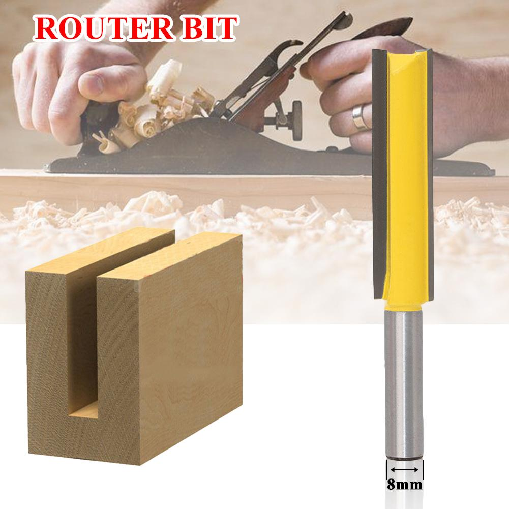 1 Pc 8mm Shank Extra Long Blade Cutting Straight Router Bit Woodworking Tenon Cutter For Woodworking Carpentry Trimming Tool