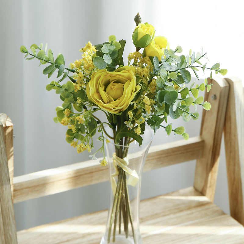 Eukalyptus Rosen Gypsophila Künstliche Blume Hybrid Bouquet Gefälschte Blume Braut Hand Blumen für Hochzeit Home Party Dekoration