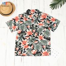 2020 Hawaiian Style Kid Boys Shirts Hot Summer Kids Baby Boy Coconut tree Flowers Print Beachwear Shirt Casual Boys Tops DC243
