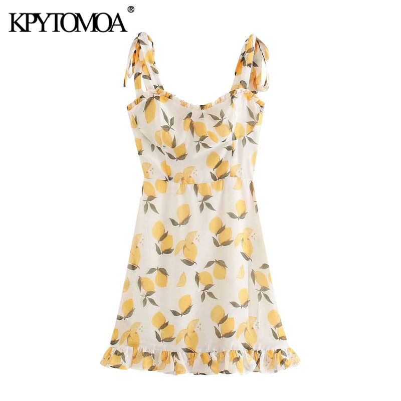KPYTOMOA Women 2020 Sweet Fashion Fruit Print Ruffled Mini Dress Vintage Backless Elastic Bow Tied Straps Female Dresses Mujer
