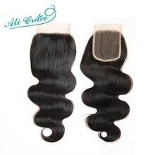 Ali Grace Brazilian Body Wave Closure 4x4 Transparent Lace Color Hand Tied Remy Human Hair Brazilian Lace Closure