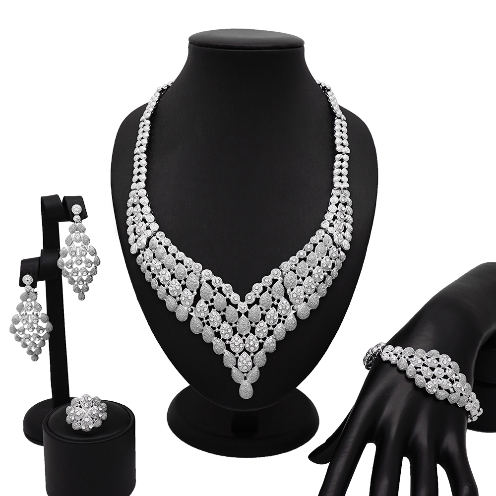 Dubai Women's SilverJewellery Exquisite Italy Austrian Crystal Hollow Necklace Earrings Ring Wedding Jewelry Sets(China)