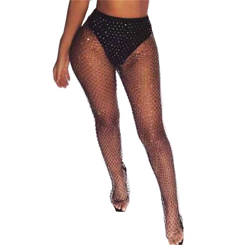 2020 New Faux Diamond Shiny Women Pants Summer Hollow Out Elastic Fishnet Trouser Fashion See Through Beachwear Sexy Ladies Pant