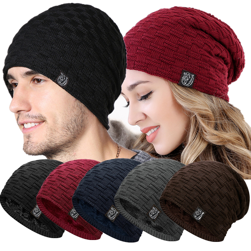 New Casual Unisex Winter Hat Add Fur Warm Tiger   Beanies   Hat Fashion Knitted Hat For Men & Women Outdoor Ski Sports   Beanie   Cap