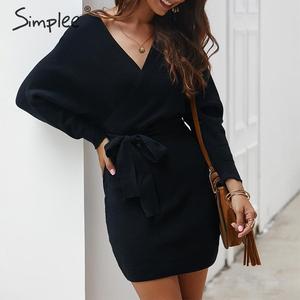 Image 5 - Simplee Vestido corto de punto para mujer, vestido con cuello en V y cinturón, vestido informal vintage de talle alto para oficina para Otoño e Invierno