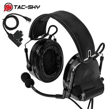 TAC-SKY COMTAC II silicone earmuffs outdoor hunting sports noise reduction pickup tactical headphonesBK + U94 Kenwood plug PTT