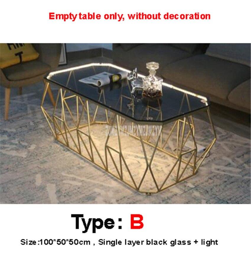 Mesa de té Rectangular nórdica con luz LED creativa de una capa de vidrio endurecido escritorio hierro arte pierna moderna mesa de sala - 2