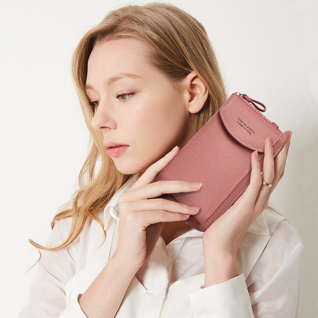 Buylor Mobile Phone Bag Women's Bag PU Handbag Pure Color Wallet Card Holders Shoulder Straps Mini Purses 6