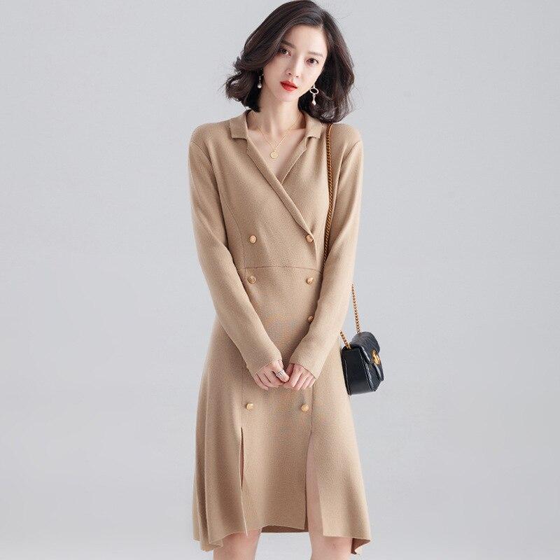 Vadiming femmes 2019 automne nouveau double boutonnage à manches longues couleur unie col en v mode robe sexy