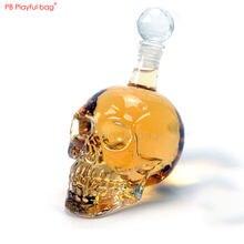 Saco brincalhão 350ml crânio vinho carafe cabeça de cristal garrafa de vinho vidro crânio estátua ornamentos criativos pequenos presentes hg09