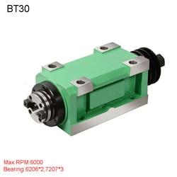 Ch03 1.5kw unidade de cabeça potência cnc máquina ferramenta eixo para fresadora max. rpm 6000rpm/2500rpm atarraxamento mandril bt30 mt3 er32