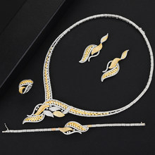 GODKI Luxury Butterfly Flower 4PCS Nigerian Jewelry set For Women Wedding Zircon Crystal CZ Bridal Lariat Necklace Ring Set(China)