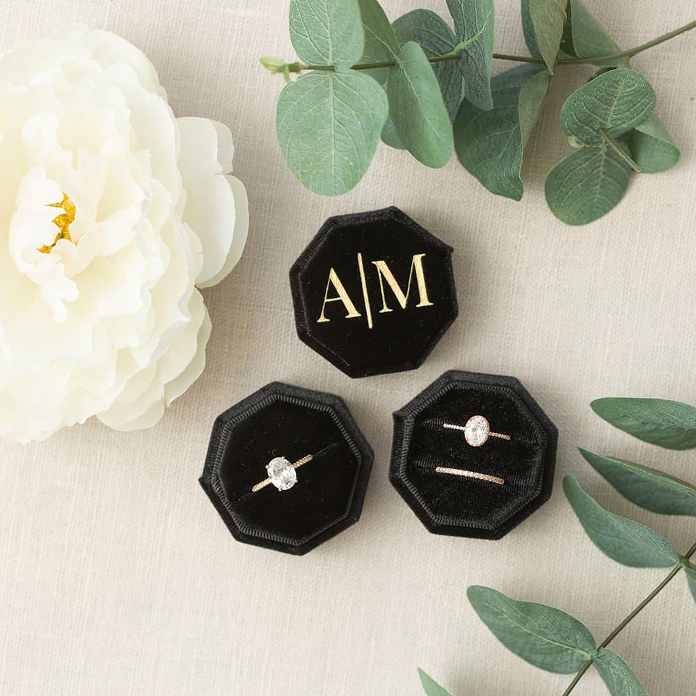 По индивидуальному заказу восьмиугольная бархат кольцо коробка одиночный/двойной слот обручальное кольцо коробка роскошное ящик для коле...