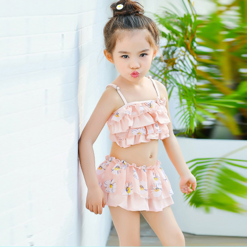 KID'S Swimwear GIRL'S Three-piece Set Large Children Split Type Princess Dress-Long Sleeve Baby Girls Sun-resistant Tour Bathing