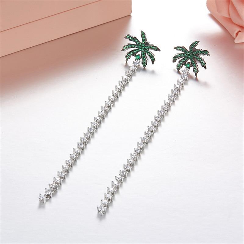 Luxury 925 Sterling Silver Coconut Palm Tree Long Crystal Tassel Chain Earrings AAA Cubic Zirconia France Monaco Women Jewelry