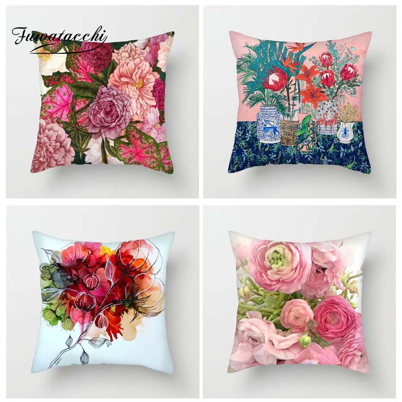 Fuwatacchi Floral Cushion Covers Colorful Flowers Throw Pillow Covers For Home Sofa Bedroom Pink Red Roses Plush Pillowcases Cushion Cover Aliexpress
