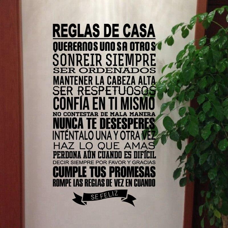 Casa espanhola regras adesivos de parede decoração para casa, vinil decalque versão espanhola família citações decoração para casa frete grátis