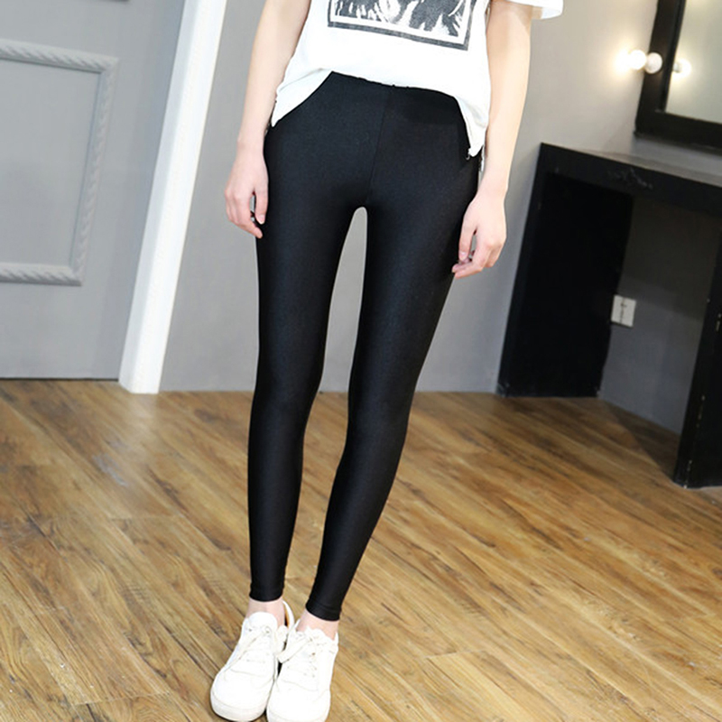 GAOKE Plus Size Women Elastic Leggings Slim Fluorescent Color Leggings Shiny Glossy Leggings Black Fitness Leggings S-5XL