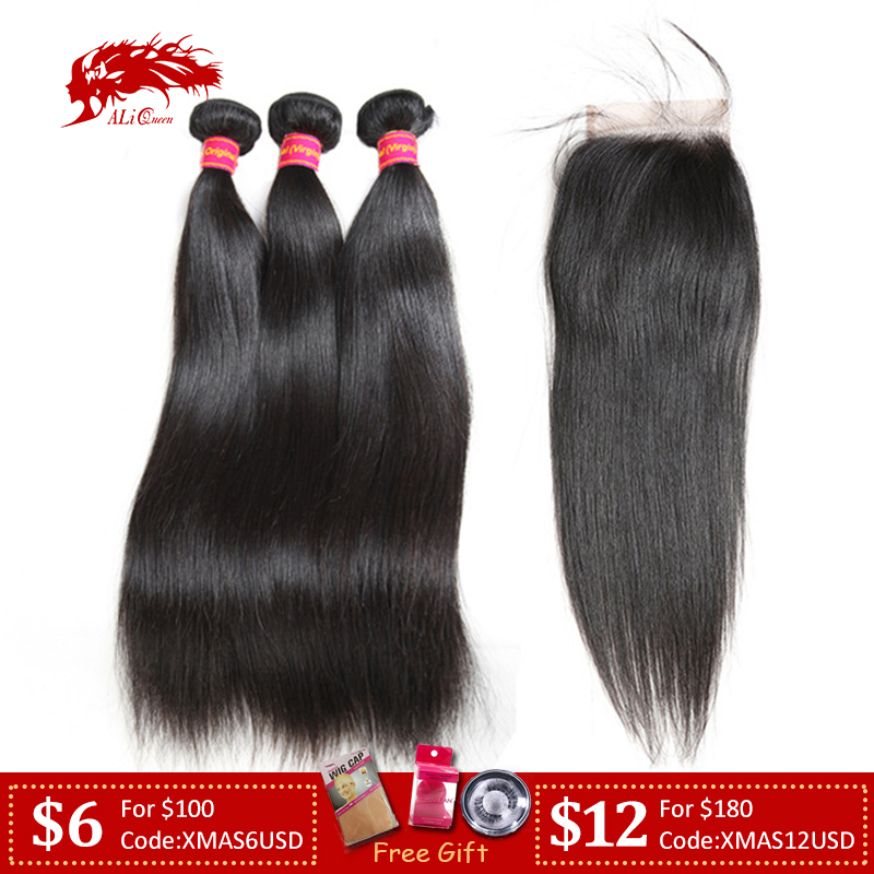 Brazilian Straight Virgin Hair Bundles With Transparent HD Swiss Lace Closure Ali Queen Hair 3/4 Bundles With 4x4 5x5 Closure