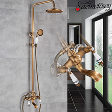 Bathroom Faucet Shower-Bracket Ceramic-Handle-Set Wall-Mounted Spout Antiquebrass Hot