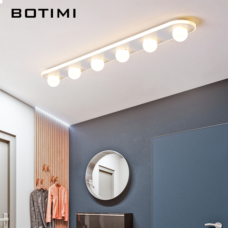 BOTIMI Modern LED Ceiling Lamp in Long Shaped For Living Room White Acrylic Kitchen Lighting Surface Mounted Corridor Lamps