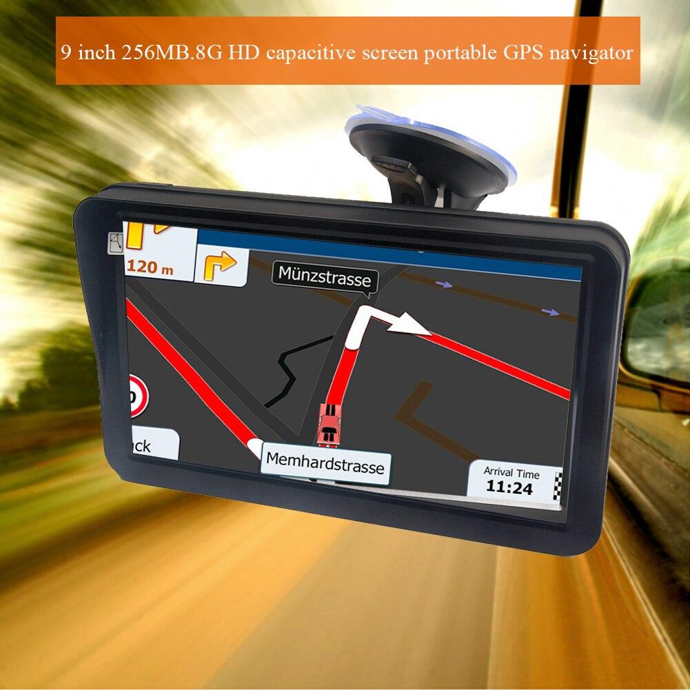 9 pouces 256 mo 8G GPS navigateur voiture multifonctionnelle avec pare-soleil cartes guidage FM multilingue camion Portable HD écran tactile