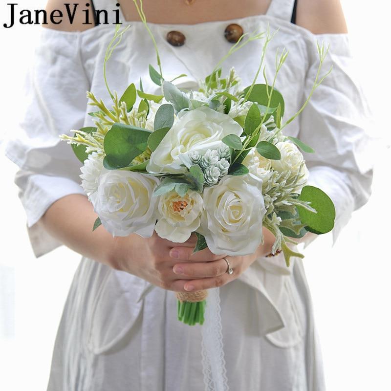 JaneVini Artificial Peonies Bridal Flowers Bridal Bouquets White Blue Red Pink Rose Silk Wedding Bouquet ramo novia azul 2020