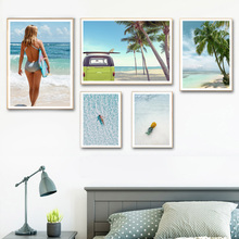 Surf Beach Coconut tree Sea Car Landscape Wall Art Canvas Painting Nordic Posters and Prints Pictures For Living Room Decor