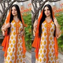 Summer New Arrival Arabic Long Sleeve Dress Ramadan Orange Abayas Islam Veiled Women Clothes Muslim Fashion Robe Jalabiya Caftan