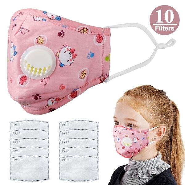 Children Anti Dust Mask Reusable With Breath Valve Anti Haze Cotton Mask Antibacterial Pm2.5 Filter Respirator Mouth Mask Kids