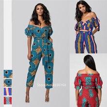 Новинка года; одежда в африканском стиле; Осенняя женская рубашка в африканском стиле; комбинезон; большие брюки; модные женские платья с открытыми плечами в африканском стиле