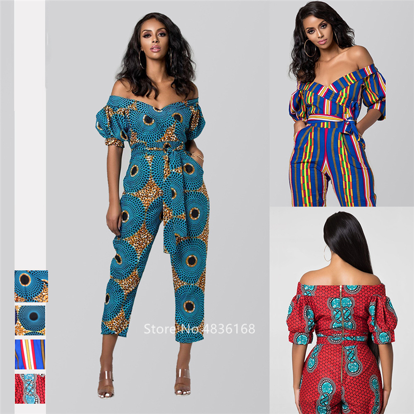 2019 News African Clothes Autumn Ladies Robe Africaine Jumpsuit Plus Pant Dashiki Fashion Shoulder Off African Dresses for Women