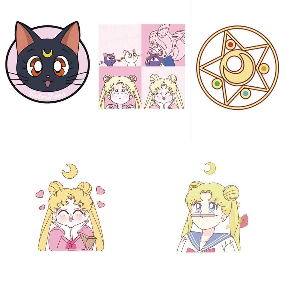 5 Buah/Set Luna Ikon Kucing Anime Printing DIY Cosplay Pakaian Thermal Transfer Patch Sailor Moon Panas Transfer Stiker