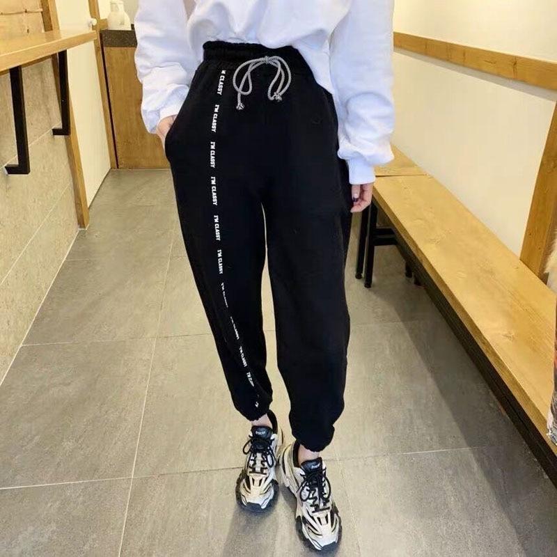 Women Jogging Soprt Drwastring Pants Female Fashion Loose Sportwear Trousers Casual Elastic Waist Streetwear Harem Pants