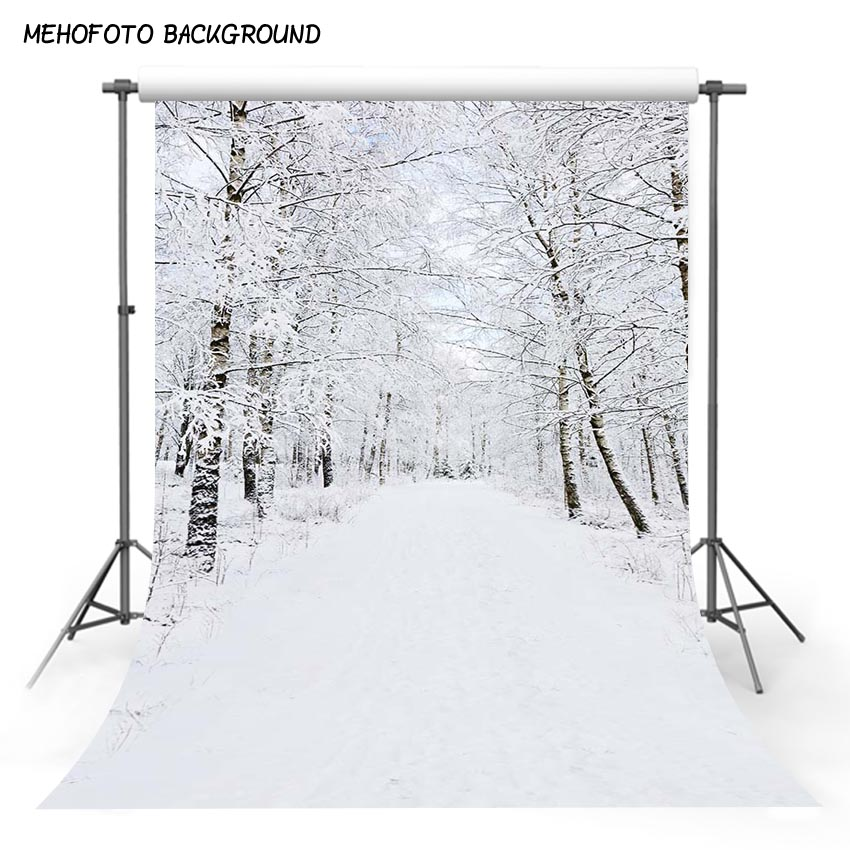 10x6.5ft Vinyl Photography Backdrop Empty Road in Forest Winter with Start Text Snow Photo Background Children Baby Adults Portraits Backdrop