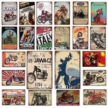 [DecorMan] JAWA BSA TT Motor Metal signos carteles Vintage de hierro pintura personalizada Club decoración LTA-1704