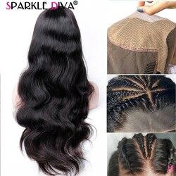 Поддельные головы парик 13X4 Синтетические волосы на кружеве парики из натуральных волос объемная волна Синтетические волосы на кружеве пар...